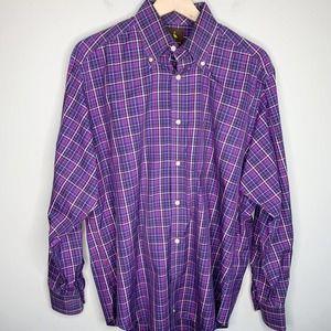 TAILORBYRD Button Down Shirt Purple Plaid Large